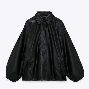 🔥MOVING SALE🔥New ZARA FAUX LEATHER JACKET TOP M